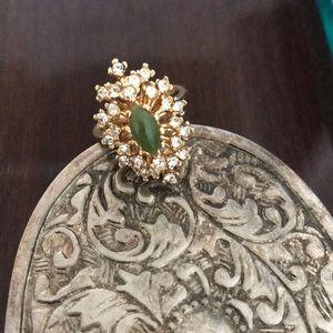 Vintage 18kHGE Jade&Clear Rhinestone Cocktail Ring